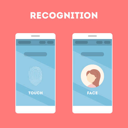 Smartphone with a face recognition and fingerprint scanner. Mobile app for biometric identification. Idea of modern technology and progress. Flat vector illustration