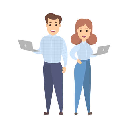 Happy businessman and business woman characters standing and holding laptop computers. Working remote using internet concept. Isolated flat vector illustration Stock Illustratie