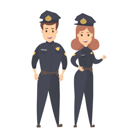Policeman and policewoman standing smiling in uniform. Security, authority and law concept. Isolated flat vector illustration