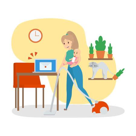 Donna impegnata a fare i lavori domestici a casa