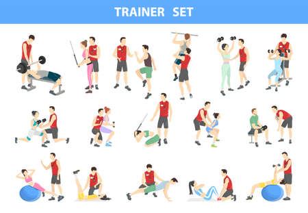 Personal trainer set. Gym coach in red uniform helps people doing exercises. Healthy lifestyle and physical activity. Isolated vector illustration Ilustración de vector