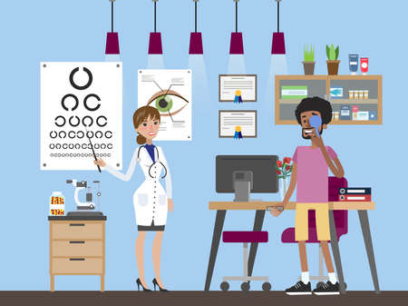 Young man making eyes examination. Oculist standing near the eye test board and showing letters with the pointer to the patient. Vector flat illustration Illustration