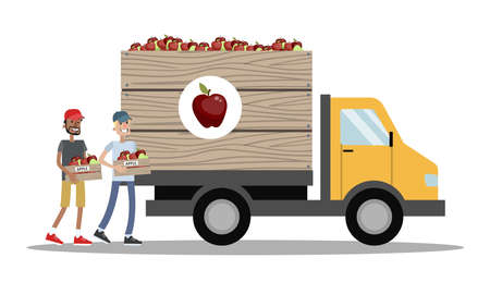 Big truck full of apples. Harvest time on the farm. Farmers carrying fresh fruits to the vehicle. Isolated vector flat illustration Çizim