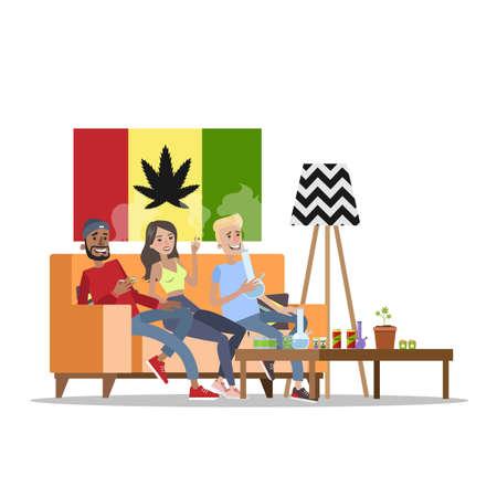 Adults smoking weed