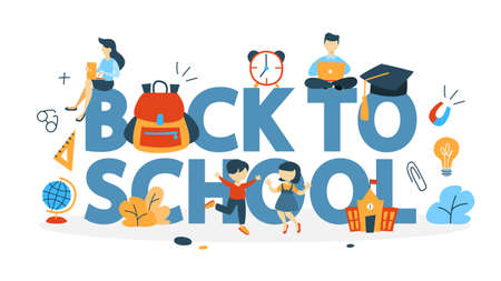 Back to school concept. Happy children go to school . Pupils and students get education. Isolated flat vector illustration Illustration