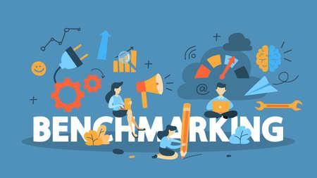Benchmarking concept. Idee van bedrijfsontwikkeling en verbetering. Vergelijk kwaliteit met andere bedrijven voor verbetering.