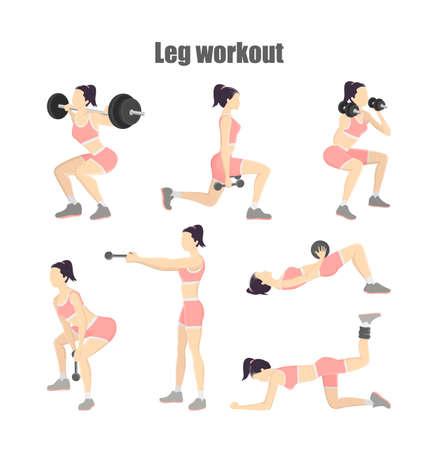 Conjunto de entrenamiento de piernas. Mujer haciendo ejercicios con mancuernas: patadas de burro, estocadas y otros. Estilo de vida saludable. Ilustración de vector aislado