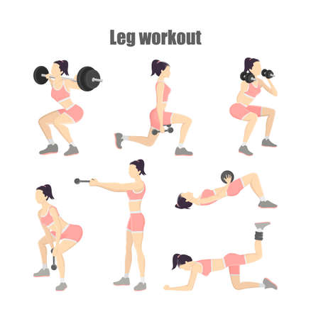 Set of leg workout. Woman doing exercises with dumbbells: donkey kicks, lunges and others. Healthy lifestyle. Isolated vector illustration