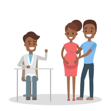 Pregnant woman and her husband consulting with doctor vector illustration