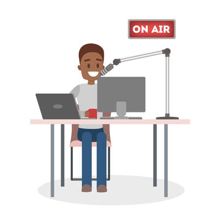 African american male radio DJ speaks into the microphone on air in the sound recording studio. Broadcasting. Isolated flat vector illustration