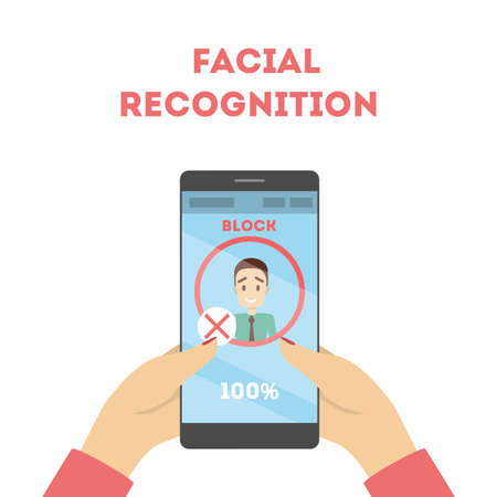 Smartphone with a face recognition. Mobile facial scanner system for biometric identification. Idea of modern technology and progress. Flat vector illustration