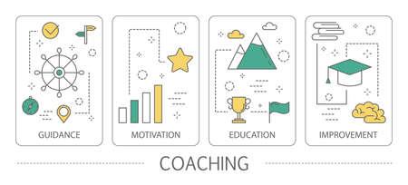 Ensemble de bannières verticales de coaching. Orientation, éducation, motivation et amélioration. Idée d'accompagnement et de formation en entreprise. Illustration vectorielle de ligne isolée Vecteurs