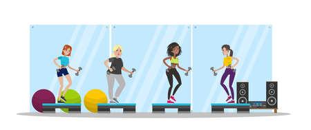 Gruppenfitnesskurs. Schöne Frauen trainieren gemeinsam im Fitnessstudio mit verschiedenen Geräten wie Hanteln und Steps. Gesunder Lebensstil. Isolierte flache Vektorgrafik Vektorgrafik
