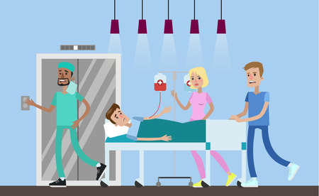 Medical team take patient to operation room. Emergency surgery. Hospital hall interior. Vector flat illustration