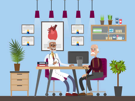 Old man visiting male doctor in a hospital. Senior sitting in the chair and listening to the doctor. Consultation with specialist. Hospital room interior. Isolated flat vector illustration Vectores