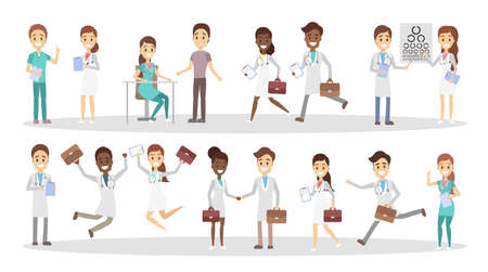 Set of funny doctor characters with various poses, face emotions and gestures. Smiling medicine workers with briefcases talking with patients, running and jumping. Isolated flat vector illustration Vector Illustration