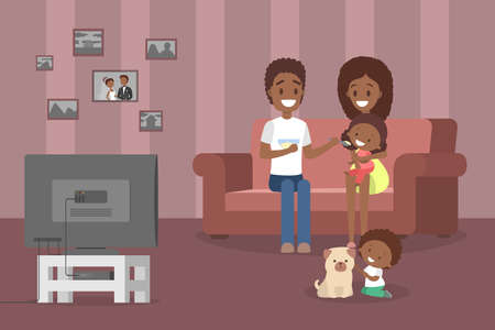 Young cute african american family spending time together watching tv in the living room. Father and mother feed their little daughter. Boy playing with the dog. Vector flat illustration Illustration