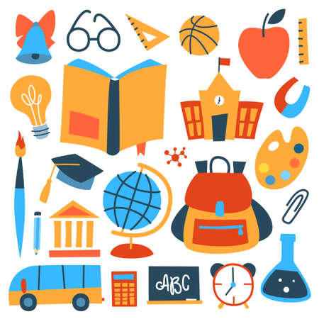 School icon set. Beautiful stickerpack with pallette, book, brush, bell and others. Equipment for school or university. Abstract flat vector illustration Illustration