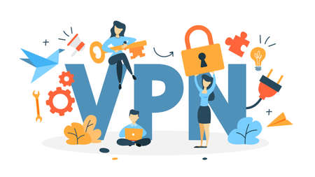 VPN concept. Using internet via virtual private network. Modern technology and virtual life. Idea of privacy in the internet. Isolated flat vector illustration