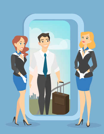 Beautiful female flight attendants meet passenger with baggage in business class of airplane. Travel by aircraft. Vector illustration in cartoon style