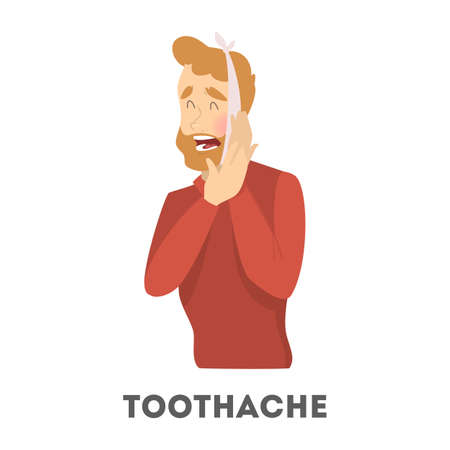 Sad man suffering from a strong toothache. Patient touching their cheeck and feel the pain. Isolated vector illustration in cartoon style
