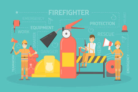 Happy firefighters standing with axe, megaphone and water hose. Firemen in uniform with equipment: extinguisher, helmet and other. Flat vector illustration Illustration