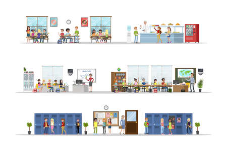 School classrooms set. Classrooms, dining room and hall. Getting education and knowledge. Vector flat illustration Ilustracja