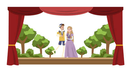 Theater perfomance show. Two actors in costumes in front of audience. Red curtains and decorations on the background. Vector flat illustration