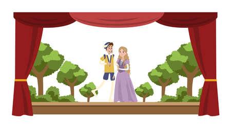 Theateraufführungsshow. Zwei Schauspieler in Kostümen vor Publikum. Rote Vorhänge und Dekorationen auf dem Hintergrund. Vektor flache Illustration Vektorgrafik
