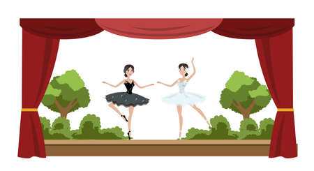 Theater ballet perfomance. Two actresses dancing in front of audience. Red curtains and decorations on the background. Vector flat illustration Illusztráció