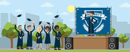 Young happy people on graduation day holding diploma and throwing hats in the air. Smiling students celebrating achievement. Isolated flat vector illustration