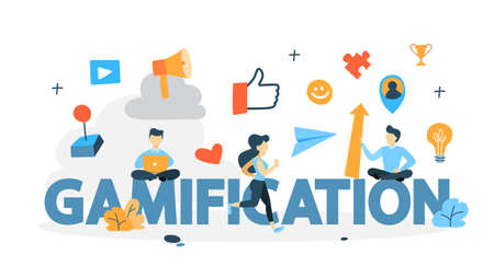 Gamification concept. Integrating game mechanics into website or app design. Customer engagement. Idea of competition. Isolated flat vector illustration Illustration