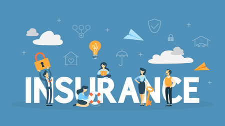 Insurance concept. Idea of security and protection of property and life from damage. Health and business safety. Flat vector illustration