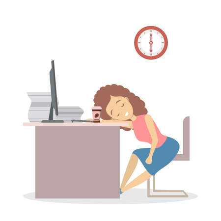 Lazy female worker sleeping in the office. Tired business woman fell asleep at the work time. Isolated flat vector illustration