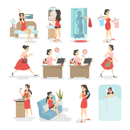 Woman daily routine. Waking up, having breakfast, taking shower, going to the work and other activities. Busy woman lifestyle. Isolated vector illustration in cartoon style Imagens