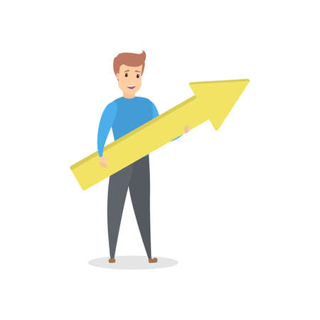 Young handsome man holding a yellow arrow pointing up as a metaphor of growth and success. Business progress. Isolated flat vector illustration 免版税图像