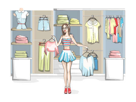 Beautiful young woman choosing clothes at a clothing store. Beauty and fashion. Difficult choice. Isolated vector illustration