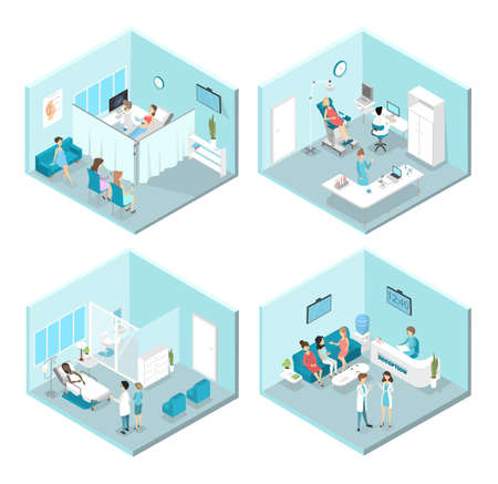Isometric flat interior of gynecology rooms: reception, laboratory, waiting and examination rooms. Doctors and nurses treating female patients in the hospital. Flat vector illustration