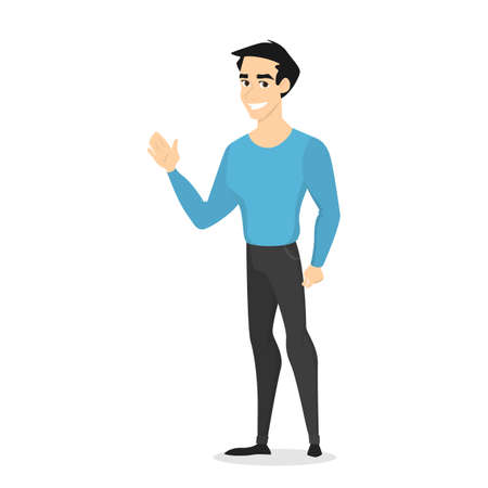 Young handsome smiling male character standing in the blue sweater and black jeans, waving his hand. Front view of a man in casual clothes saying hello. Isolated vector illustration in cartoon style
