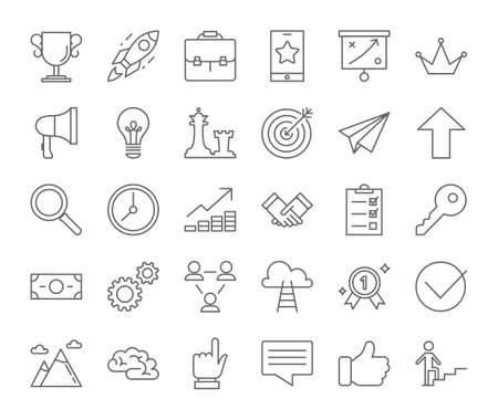 Success icon set. Winning in competition. Getting the reward or prize for achievement. Icons for website and app design. Isolated vector illustration Vettoriali