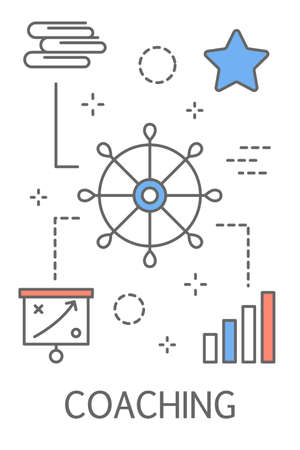Coaching concept. Teamwork, guidance, education, motivation and improvement. Idea of support and business training. Line icon set with graph, star and books. Isolated vector illustration