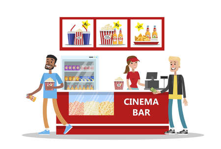 People buy pop corn and soda in cinema bar. Going to the movie. Vector flat illustration