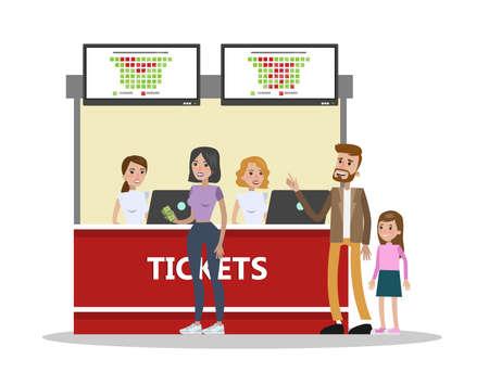 Ludzie kupujący bilety do kina w kasie. Pracownicy kina sprzedający bilety. Harmonogram filmów. Przemysł rozrywkowy. Płaskie ilustracji wektorowych na białym tle