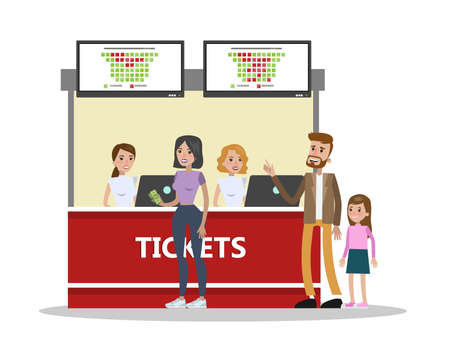 People buying cinema tickets at counter. Cinema workers selling tickets. Movie schedule. Entertainment industry. Isolated vector flat illustration Illustration