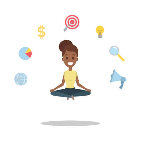 Mujer de negocios afroamericana relajada sentada y meditando en una pose de loto. Trabajadora de oficina haciendo yoga para calmarse de un arduo trabajo en la oficina. Ilustración de vector plano aislado Ilustración de vector
