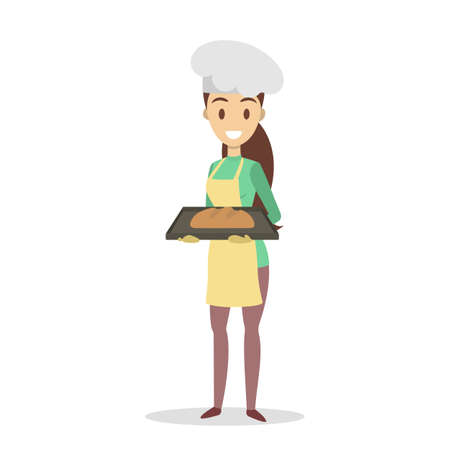 Beautiful housewife in yellow apron standing and holding bread. Baking bread at home. Isolated flat vector illustration Illustration
