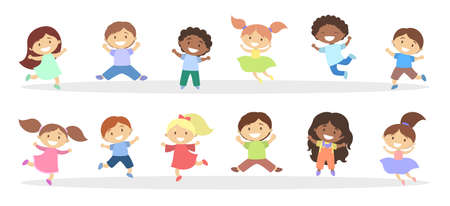Set of cute little jumping kids. Group of happy boys and girls having fun. Isolated flat vector illustration