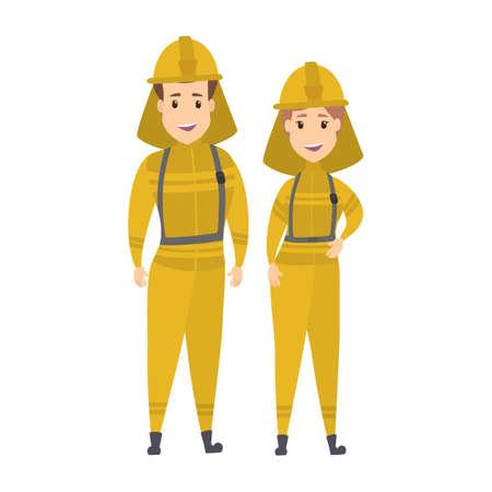 Feliz pareja de bombero sonriente Ilustración de vector