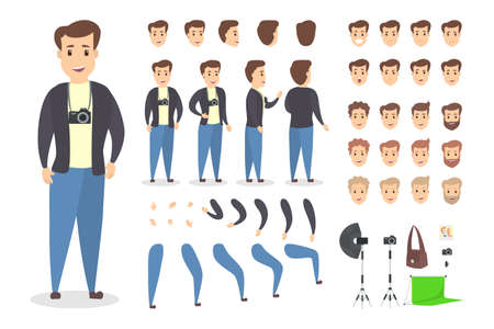 Handsome photographer character set for animation with various views, hairstyles, emotions, poses and gestures. Different equipment such as camera and softbox. Isolated vector illustration