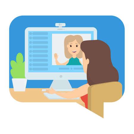 Video chat entre dos chicas jóvenes. Comunicación vía internet. Conversación online. Ilustración de vector aislado Ilustración de vector